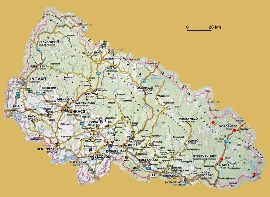 kárpátalja térkép Kárpátalja térkép   kárpátaljai magyar autós térképek. bdk seo kárpátalja térkép